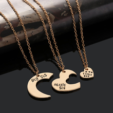 3 Pcs/Set Fashion Family Love Gold Color Chain Big Middle Little Sister Heart Pendant Necklace Jewelry(China)