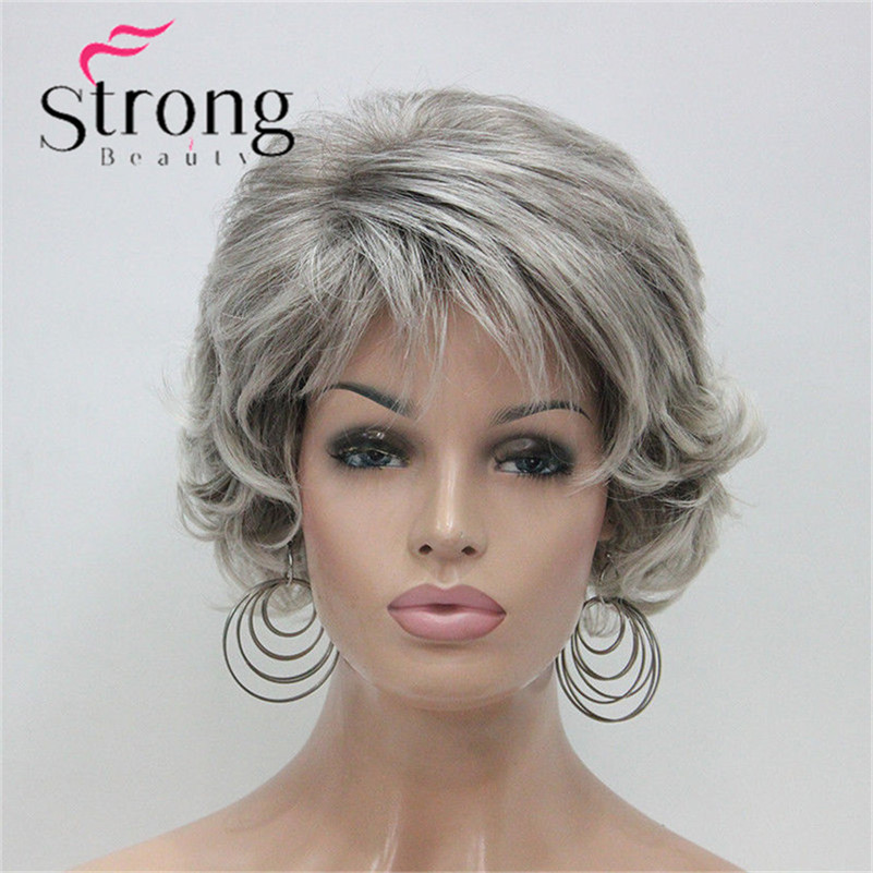 E-7125 #48T New Short Wig Wavy Curly Grey Mix Brown Women's Synthetic Hair Full Wig Thick (1)