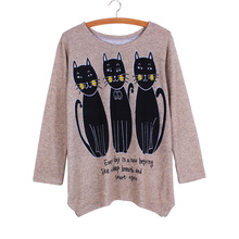 Promotion sale Black cat print lady sweaters 2016 fashion women pullovers long sleeve casual girl Autumn knit clothes wholesale