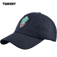 TQMSMY Men Embroidery Cactus Cotton Black Baseball Cap Solid Color Pink Caps Casquette Dad Hat for Women cotton cap summer DR08(China)