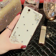 SK Fashion Bling Crystal Diamond Flower Cat Transparent Cover Case For ZTE Blade X3 D2