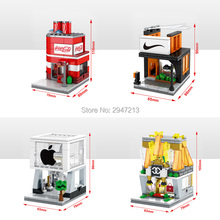 hot compatible LegoINGlys city mini Street View Building blocks Apple Store Famous clothes Drinks Handbag Shop brick toys gift