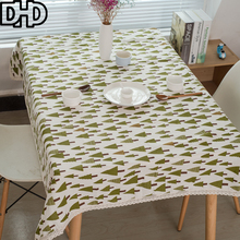 Green Christmas Tree Tablecloth Manteles Nappe Rectangulaire Table Cloth Rectangular Cotton Linen Blend Table Cover Tafelkleed
