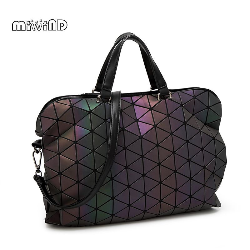 MIWIND 2017 Luminous 3D Stereoscopic Women Bag High-end Geometric Handbags Plaid Shoulder Diamond Lattice Ladies Messenger Bags<br>