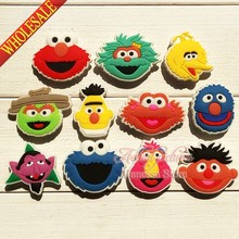 Free shipping 11pcs sesame street shoe charms shoe accessories for wristbands croc jibz best gift for shoe decoration Kids gift(China (Mainland))
