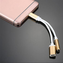 1pc High Quality USB Type-C Female To Female 3.5mm Jack AUX Extention Cable Headphone Audio Splitter Converter Adapter Cable(China)
