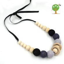 1PC SALE  grey black crochet teething necklace, Ribbon shade of grey wooden beads baby toy baby teether EN21