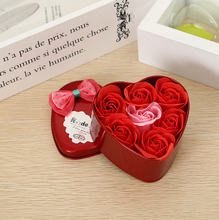 1 pcs 9.5*9*4.5CM 7 Immortal Rose Heart Iron Box Soap Flower Girlfriend Birthday Gift