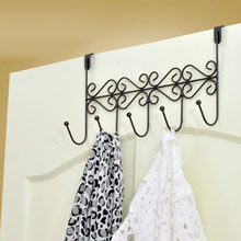 Iron 5 Hook Rack Hanger Towel Clothes Coat Bags Storage Shelf hanging hooks Black Rack Home Holder Storage Hanger Decoration