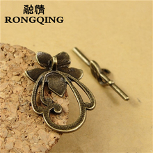 RONGQING 60Sets/lot 29*20MM Flower Shaped Circle Hook Clasps Unique Flower Connectors Clasps Bronze for Jewelry Making(China)