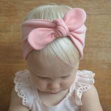 Bebe Children Headband Sweet Girls Bow Tie Hairband Kids Turban Knot Rabbit Cotton Rabbit Ear Bow Head Wrap Hair Accessories(China)