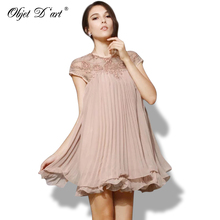 Elegant Women Dresses 2017 Brand Vestidos Fashion Apricot Short Sleeve Lace Pleated Hollow Out Chiffon Dress Cute Party Vestidos(China)