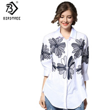 Autumn Spring Women Seven Points-Sleeve Blouses Loose Leisure Style Cotton Large Size Floral Embroidery Polo Collar Shirt T8141M(China)