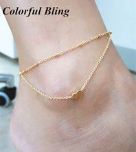 Heart Female Anklets Barefoot Crochet Sandals Beach Foot Feet Bracelet Jewelry Leg Anklets Ankle Bracelets For Women Chain(China)
