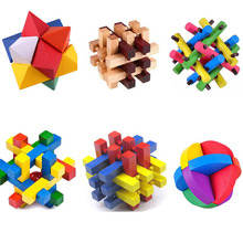 1 pcs 3D Eco-Friendly Bamboo Wooden Toys IQ Brain Teaser Burr Adults Colorful Puzzle Educational Kids Learning Unlocking Games(China)