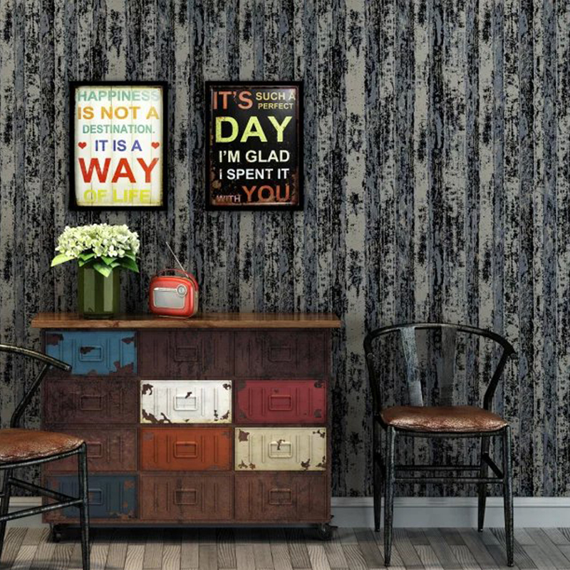 New Sale Mediterranean papel de parede Vintage Wallpaper 3D Study Room Tv Background Black Blue Stripes Wood fiber Wallpapers<br>