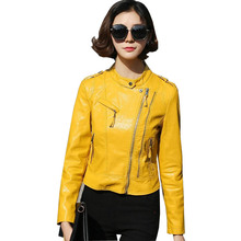 autumn new women pu leather jackets female lady casual elegant motorcycle leather jacket outwear(China)