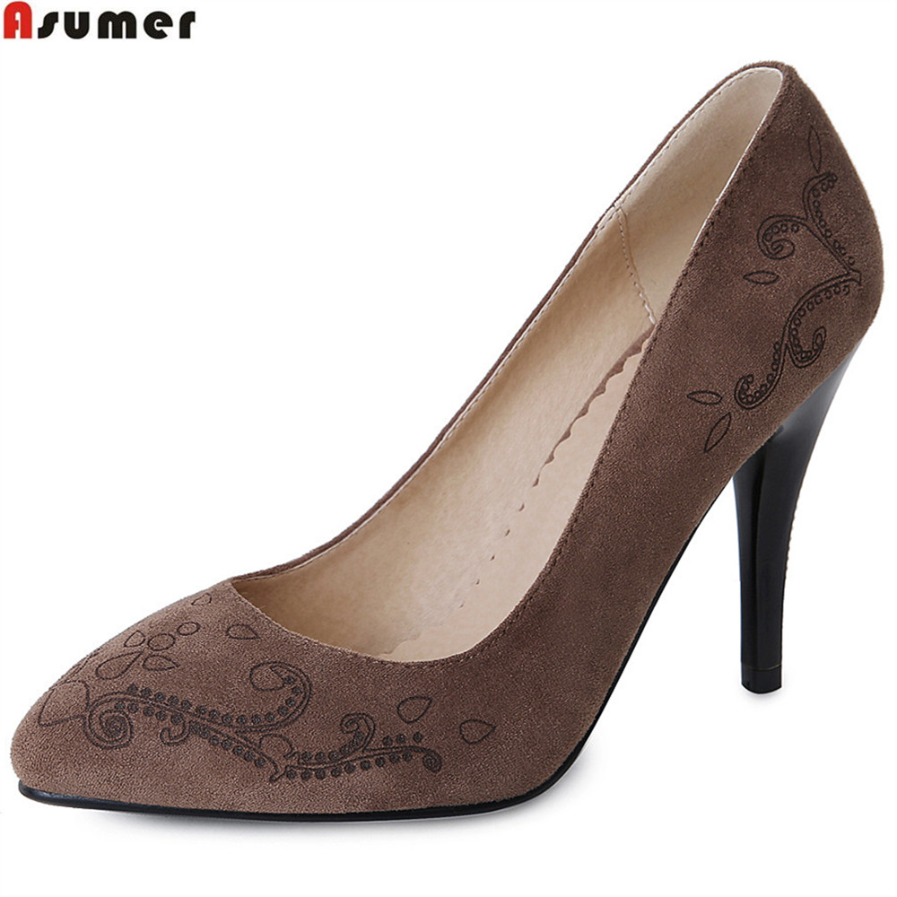ASUMER black army green fashion spring autumn ladies pumps pointed toe dress shoes women high heels shoes big size 32-44<br>