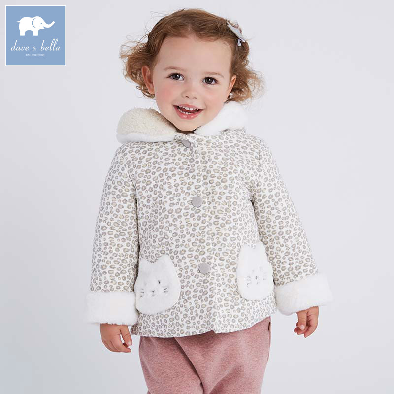 DB6110 dave bella autumn winter infant baby girls fashion Jackets toddler Hooded outerwear children cute hight quality clothes<br>