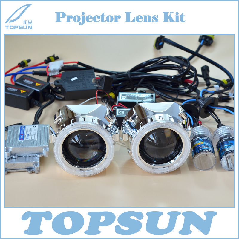 Headlight Kit 2.5 WST Projector Lens, Cover, 35W H1 HID Xenon Bulb, Ballast, CCFL Angel Eyes, High/Low Beam Control Wire<br><br>Aliexpress