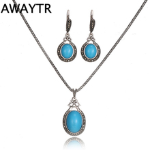 AWAYTR Elegant Costume Jewellery Set For Women 2017 Rhinestone Necklace Earrings Set Vintage Jewelry Sets Blue Opal Pendant