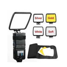Foldable Camera Flash Diffuser + Bounce Card + Silver Gold White Photograph Reflector with carry bag for Flash Unit
