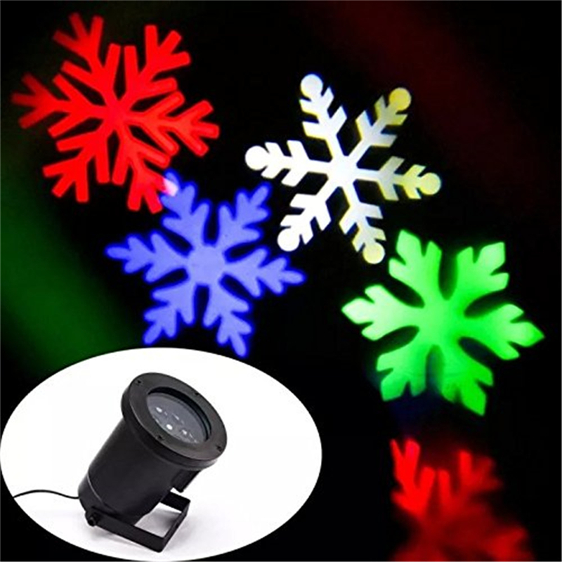 Multicolor White Snow Moving LED Laser Light for Landscape House Outdoor Christmas Garden lawn spotlight EU/US plug<br>