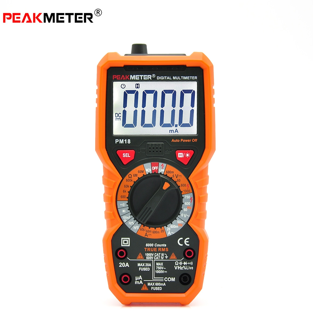 New Arrival PEAKMETER PM18 High Precision Handheld Digital Multimeter AC / DC Voltage Current Capacitance With Led Flashlight<br><br>Aliexpress
