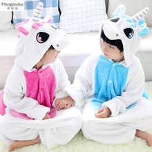 Winter Flannel Christmas Pyjamas Kids Boys Cartoon Animal Cosplay Unicorn Pajamas Boy Girls Onesie Children Sleepwear(China)