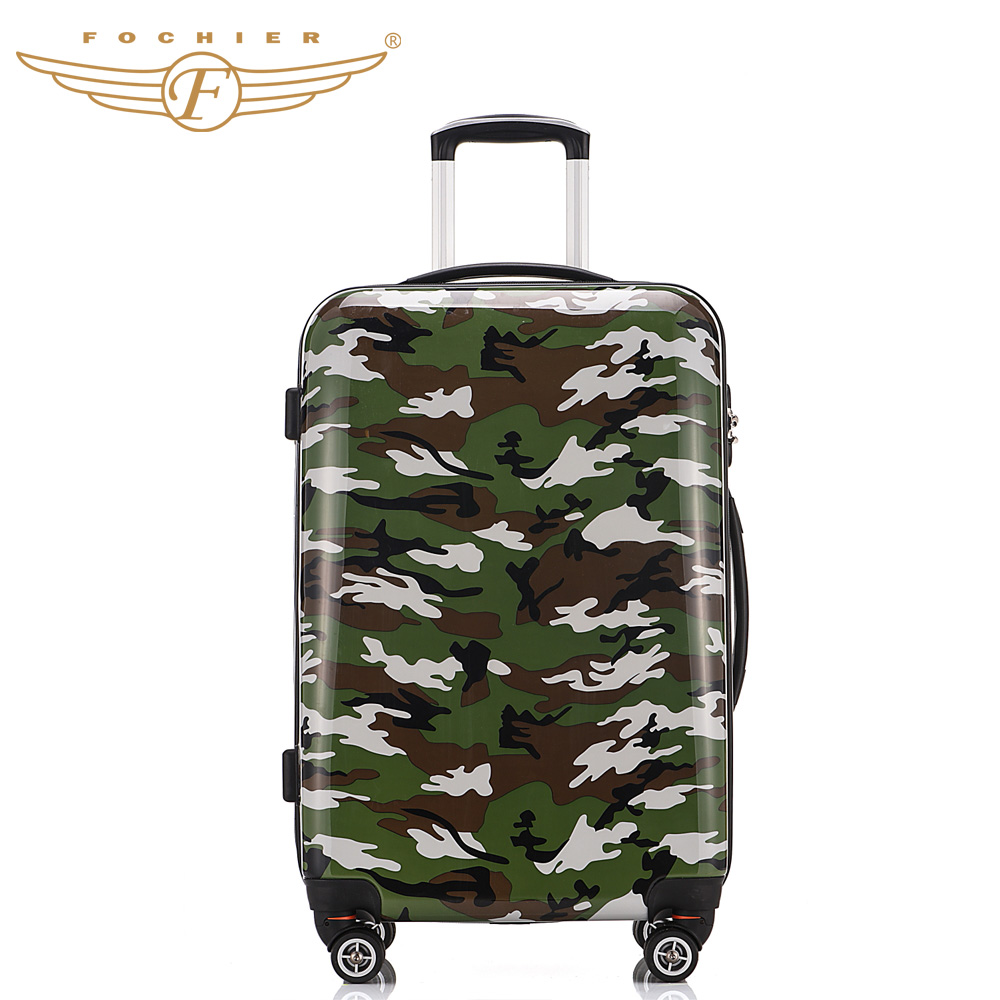 1 Piece Hardside Travel Rolling Luggage Suitcase ABS PC Pressure Resistant 20 24 28 Camouflage Printing Cabin Case Fochier XQ003<br><br>Aliexpress