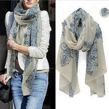 160*70cm Fashion High Quality Chiffon Blue White Gift Porcelain Style Thin Section the Silk Floss Women Scarf Shawl