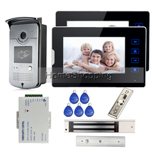 "7"" TFT Touch Screen Video Door Phone Intercom + 2 Monitors + Waterproof RFID Access Camera + Waterproof 280kg EM Lock FREE SHIP(China)"