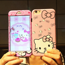 For iphone 7/ 7 plus Hello kitty Cute Front+Back case ,360 full range Matte skin Cover case for iphone 7/7P Cartoon phone cases(China)