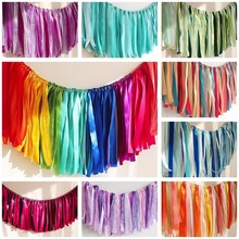 CAMMITEVER Rainbow Blue Purple Valentine's Day Ribbon Banners Garland Ornaments Wedding Party Supplies Garland Wedding Decor(China)
