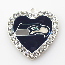 New style 20pcs/lot team football Sports Seattle Seahawks glass heart white crystal Dangle Charms necklace diy jewelry(China)