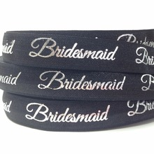 "Buy 10 Yards/lot Silver Foil Bridesmaid Print Fold Elastic 5/8"" Black Bride FOE Wedding Ribbon Wholesale DIY Hair Accessory for $3.58 in AliExpress store"