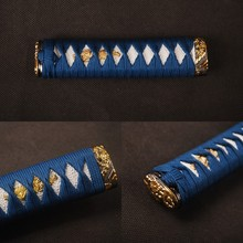 Delicate Handle Sword Fitting Tsuka Blue Silk Ito & Imitated White Rayskin & Alloy Fuchi Kashira for Japanese Tanto Nice Gift(China)