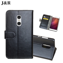 J&R for Xiaomi Redmi Hongmi Note 4 Case Leather Phone Case for Redmi Note 4 Book Stype Flip Cover Kicktand Bag Wallet Card Slots