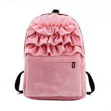 Fashion Women Velvet Backpack Suede Fabric Flouncing Lace Backpack Book Bag School Bags For Teenager Girls Travel Shoulder Bag(China)