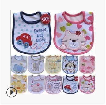 DHL 100pcs Cute Cartoon Pattern Toddler Baby Waterproof Saliva Towel Cotton Fit 0-3 Years Old  Infant Burp Cloths Feeding