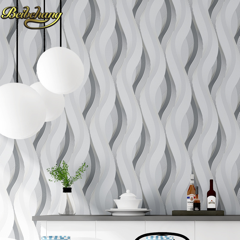 beibehang 3d papel de parede woven metallic glitter off white silver wide stripe modern wallpaper background wall coverings<br>
