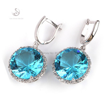 SHUNXUNZE Casual earring jewelry light blue Cubic Zirconia fashion Silver Plated  Favourite punk Earrings R749