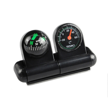 Car-Styling Car Compass Thermometer 2in1 Guide Ball Automobile Car Boat Vehicles Navigation Compass Decoration Ornaments(China)