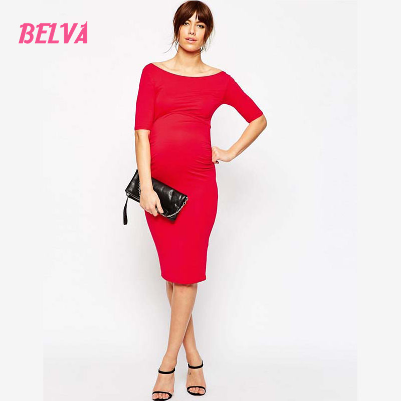 Belva Womens Maternity Pencil Jersey off shoulder Casual Dress 95% bamboo 5% Spandex High Quality pregnant woman clothes<br>