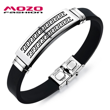 MOZO FASHION Man Bracelet Great Wall Pattern Stainless Steel Vintage Silicone Bracelet Rubber Wristband Cool Men Jewelry LPH1091
