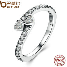 BAMOER Genuine 925 Sterling Silver Forever Hearts, Clear CZ Finger Ring Women Wedding Jewelry PA7614(China)