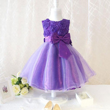 Children's Clothing Girls Dress For Baby Purple Pink Roses Clothes Chiffon Princess Dresses(China)