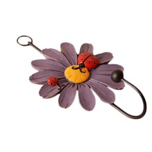 Lady Beetles Flowers Coat Hook European Pastoral Style Retro Cartoon Resin Wrought Iron Decorative Towel Hanger