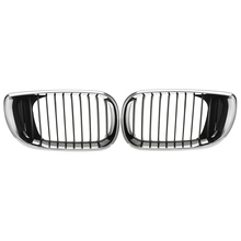 Pair Left & Right Front Hood Grille Grill Chrome Black 4DR For BMW E46 3-Series 2002 2003 2004 2005