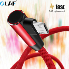 Olaf Micro USB Cable 2.4A Fast Charger USB Cord 90 degree Data Cable Samsung/Sony/Xiaomi Android Mobile Phone Charging Cable